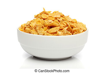 Pile of cornflakes on a bowl over white background