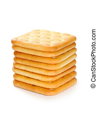 Pile of Crackers Isolated on White Background