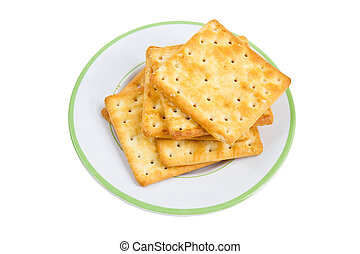 Pile Of Crackers On Plate.