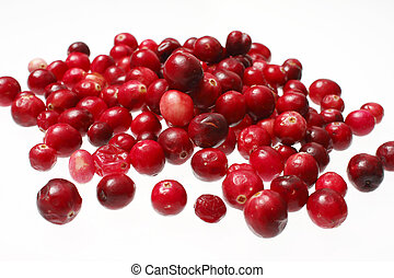 Pile of cranberries on white background.