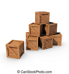 Pile of Crates - A pile of wooden crates isolated on a white...