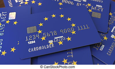 Pile of credit cards with flag of the European Union. EU banking system conceptual 3D rendering
