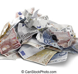 euro banknotes - pile of crumbled euro banknotes in white...