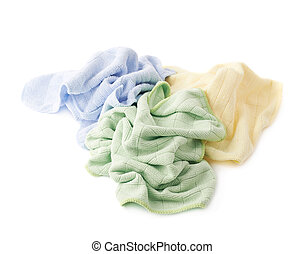 Pile of crumpled rags over white isolated background