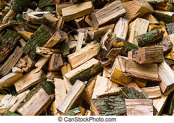 Pile of cut logs for burning