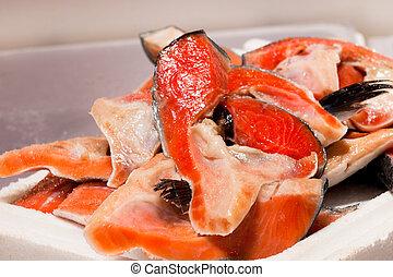 Pile of cut salmon