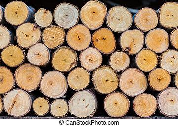 pile of cut tree logs wood