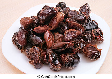 Pile of dates on a white plate