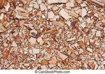 Pile of debris, broken pieces, texture
