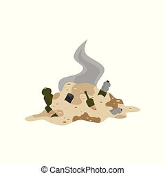 Pile of decaying garbage, environmental pollution problem vector Illustration on a white background