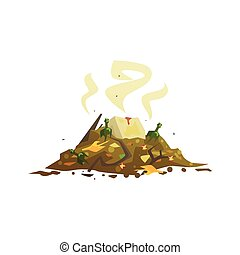 Pile of decaying garbage, waste processing and utilization cartoon vector Illustration