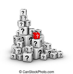 pile of dices with question marks - pile of big and small ...