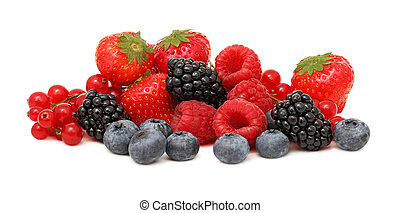 Pile of different berries (isolated)