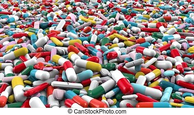 Pile of different colors pharmaceutical capsules and pills. Few colorful pills fall down on pile. 3D rendering with glossy closeup background.