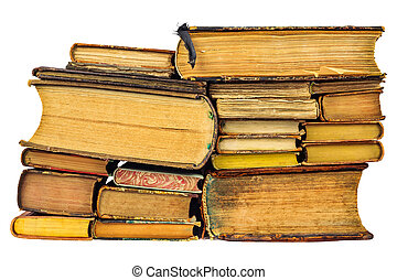 Pile of different old books isolated on white