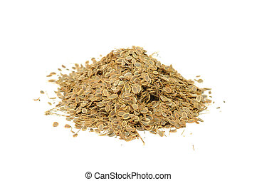 Pile of Dill Seeds Isolated on White Background