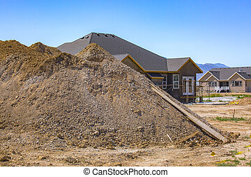 Pile of dirt dug out for home basement