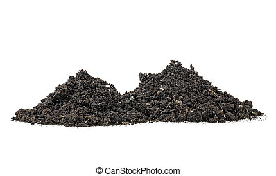 Pile of dirt isolated on white background. Soil humus.