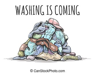 Pile of dirty clothes on floor. Washing is coming, happy ...
