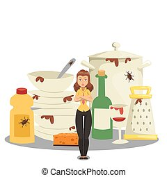 Pile of dirty dishes, angry woman cartoon character, kitchen mess vector illustration