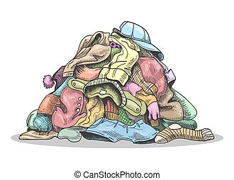 Pile of dirty laundry. Cartoon clothes pile for washing on ...