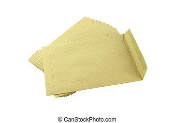 Pile of document mail envelopes on white background.