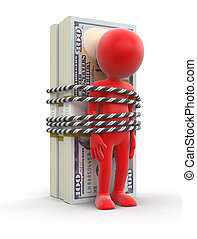 Pile of Dollars and man. Image with clipping path