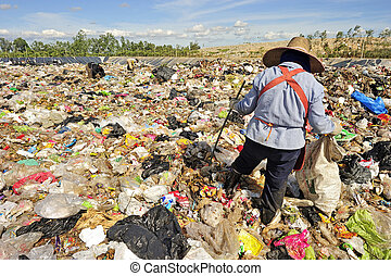 Pile of domestic garbage in Thailand.