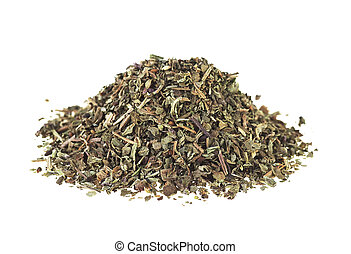 Pile of dried basil isolated on a white background