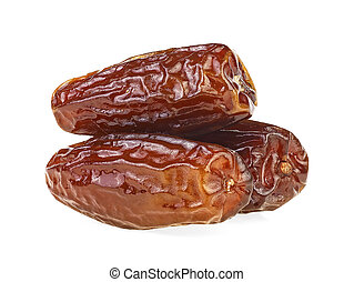 Pile of dried dates isolated on a white background