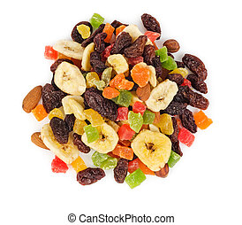 Pile of dried fruits isolated top view