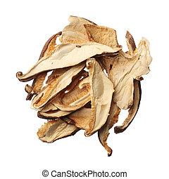 Pile of dried shiitake mushroom slices isolated on white background