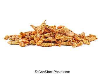 Pile of dried shrimps isolated on white background