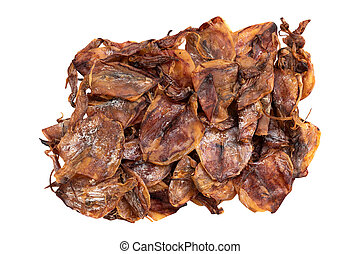 pile of dried squid isolated on white background