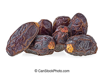 Pile of dried sweet dates isolated on a white background