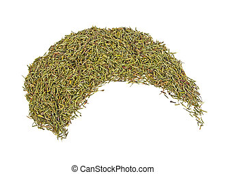 Pile of dried thyme isolated on a white background