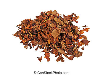 Pile of dried tobacco isolated on a white background