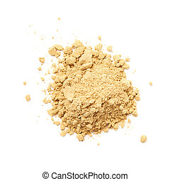 Pile of dry ginger cooking powder isolated over the white background