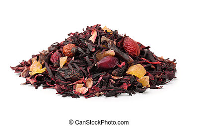 Pile of dry herbal tea with fruits