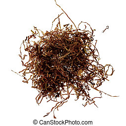 Pile of dry tobacco isolated on white