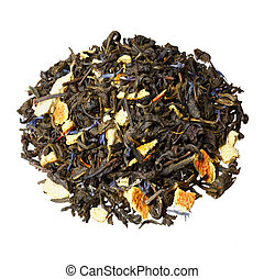 Pile of earl grey black tea isolated on white background.