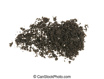 pile of earth, soil on white background