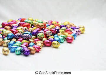 Pile of easter eggs with copy space
