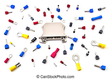 Pile of electrical connectors isolated on white background