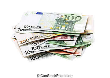 Pile of euro banknotes
