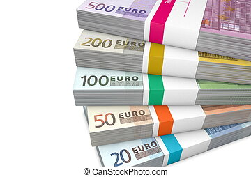 Pile of Euro Cash Packets - several Euro cash packets with...
