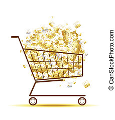 Pile of euro coins in shopping cart for your design