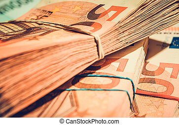 Pile of Euro Currency Banknotes