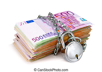 Pile of euro currency notes with padlock