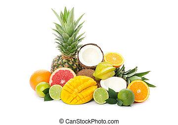 Pile of exotic fruits isolated on white background